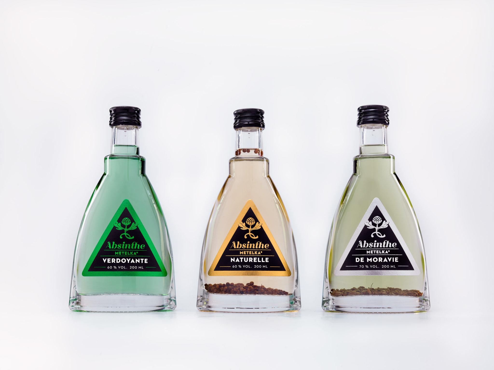 3 druhy absintů Metelka v 200 ml malé lahvi